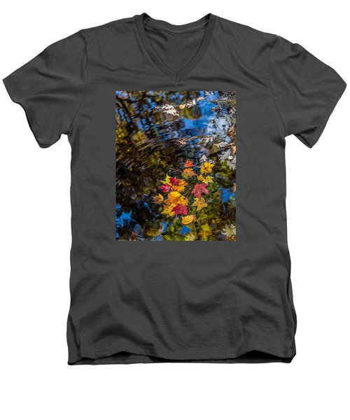 Men's V-Neck T-Shirt featuring the photograph Fall Reflection - Pisgah National Forest by Donnie Whitaker