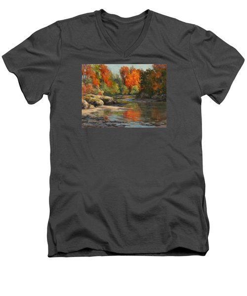 Men's V-Neck T-Shirt featuring the painting Fall Reflections by Karen Ilari