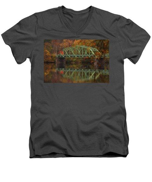 Fall Rocks Village Bridge Men's V-Neck T-Shirt