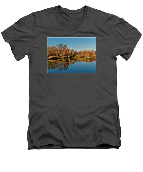 Fall Scene Men's V-Neck T-Shirt by Mikki Cucuzzo