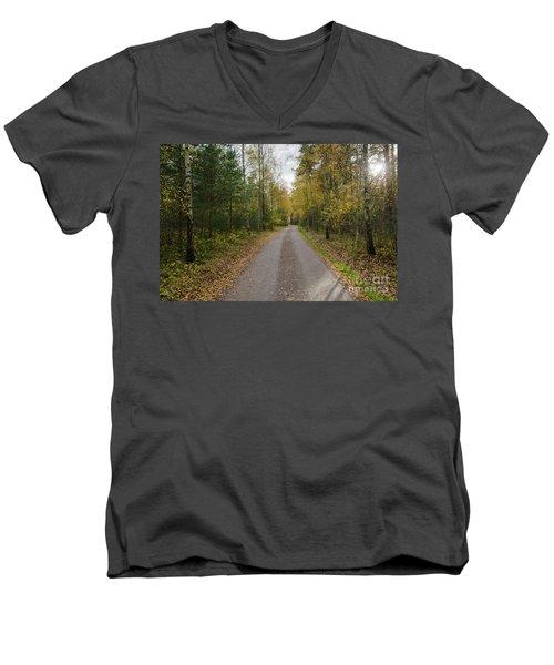 Men's V-Neck T-Shirt featuring the photograph Fall Season Adventure by Kennerth and Birgitta Kullman