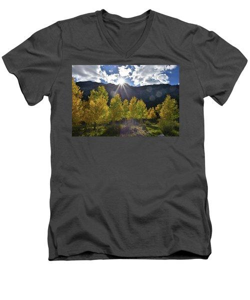 Fall Sun Setting Over Mt. Charleston Men's V-Neck T-Shirt