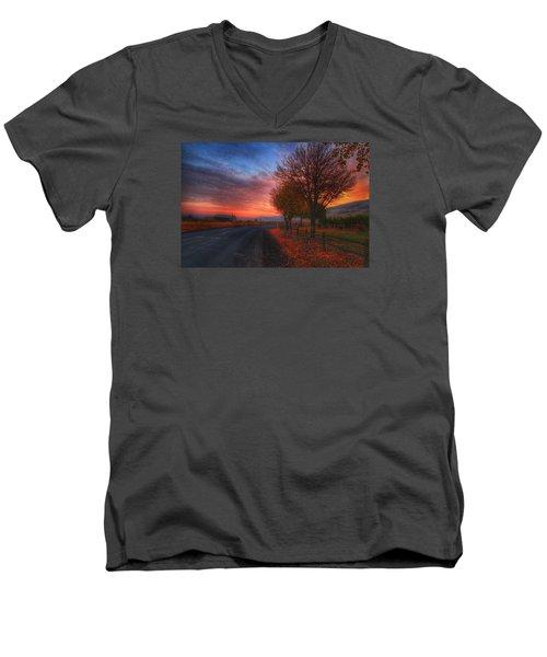 Fall Sunrise Men's V-Neck T-Shirt by Lynn Hopwood