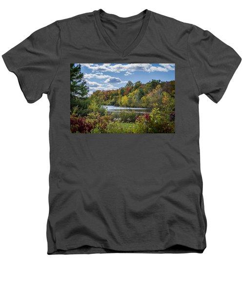 Fall Time On The Lake Men's V-Neck T-Shirt