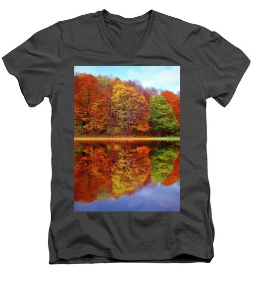 Men's V-Neck T-Shirt featuring the painting Fall Waters by Harry Warrick