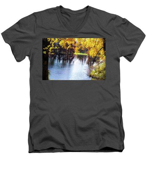 Fall Yellow Boarder Men's V-Neck T-Shirt