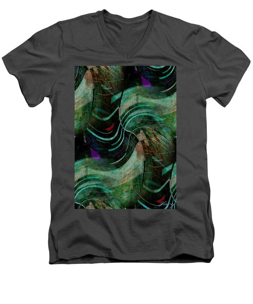 Men's V-Neck T-Shirt featuring the digital art Fallen Angle by Sheila Mcdonald