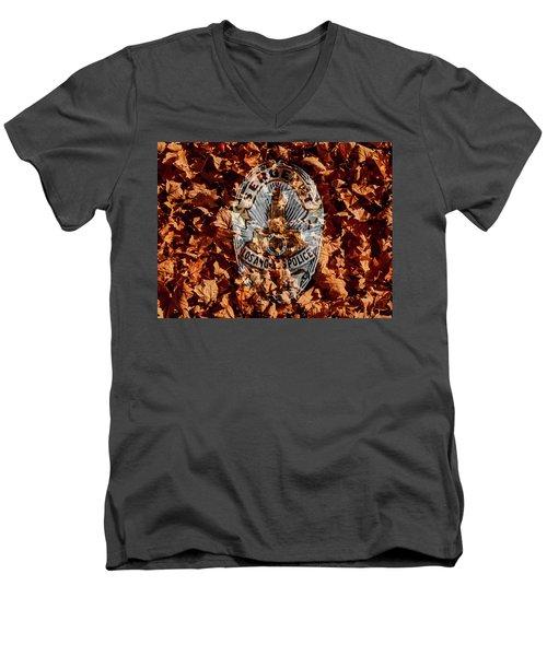Men's V-Neck T-Shirt featuring the photograph Fallen  by Randy Sylvia