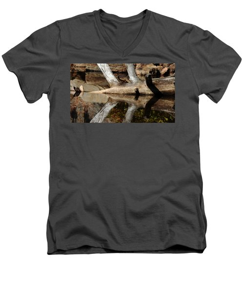 Men's V-Neck T-Shirt featuring the photograph Fallen Tree Mirror Image by Debbie Oppermann