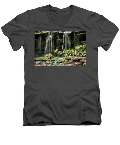 Falling Falls In The Garden Men's V-Neck T-Shirt by Iris Greenwell