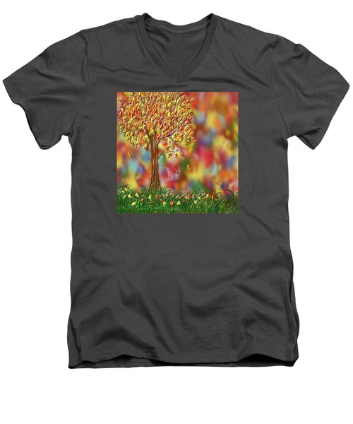 Falling Leaves Men's V-Neck T-Shirt by Kevin Caudill