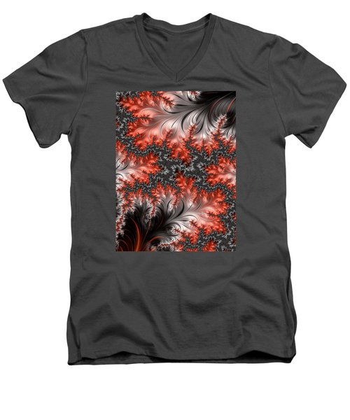 Men's V-Neck T-Shirt featuring the photograph Falling Leaves by Ronda Broatch