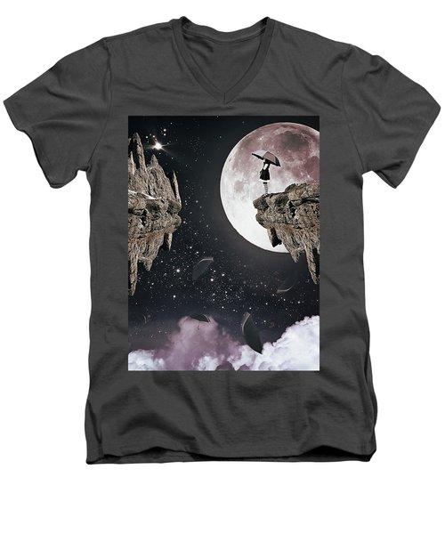 Falling Men's V-Neck T-Shirt by Mihaela Pater