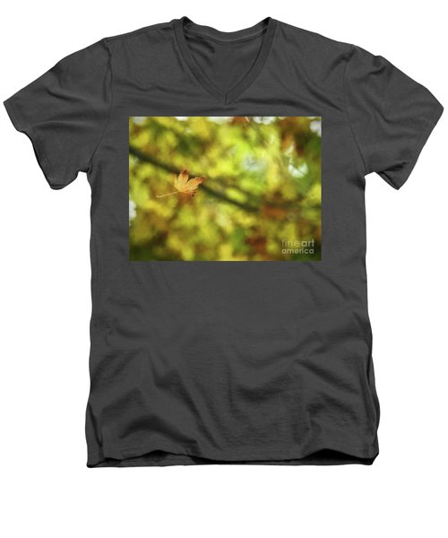 Men's V-Neck T-Shirt featuring the photograph Falling by Peggy Hughes