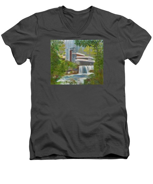 Falling Water Men's V-Neck T-Shirt by Jamie Frier