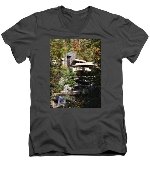 Fallingwater By Frank Lloyd Wright Men's V-Neck T-Shirt