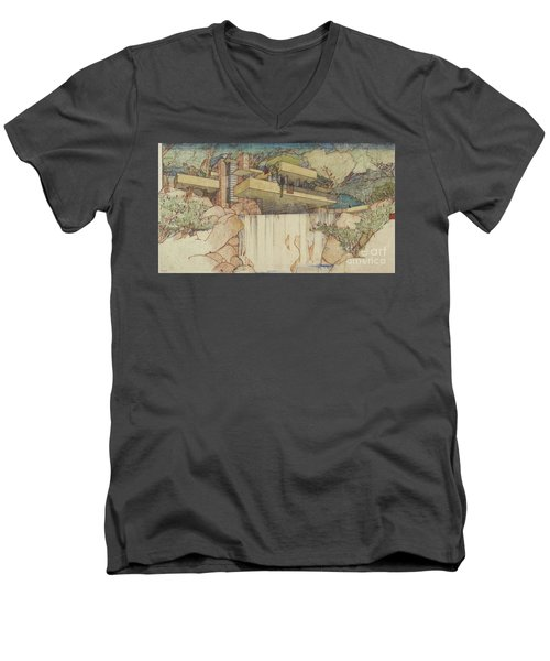 Fallingwater Pen And Ink Men's V-Neck T-Shirt