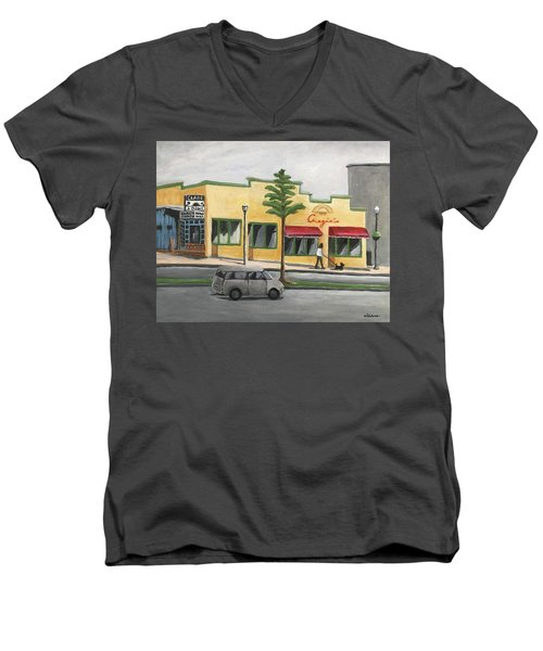 Men's V-Neck T-Shirt featuring the painting Falls Church by Victoria Lakes