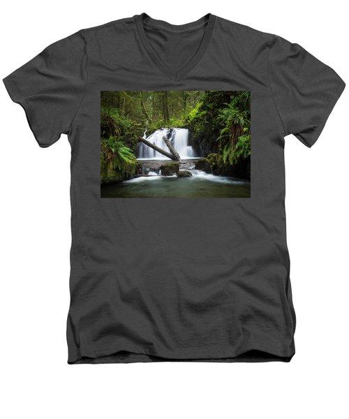 Falls On Canyon Creek Men's V-Neck T-Shirt
