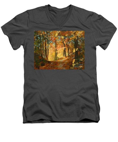 Fall's Radiance In Quebec Men's V-Neck T-Shirt