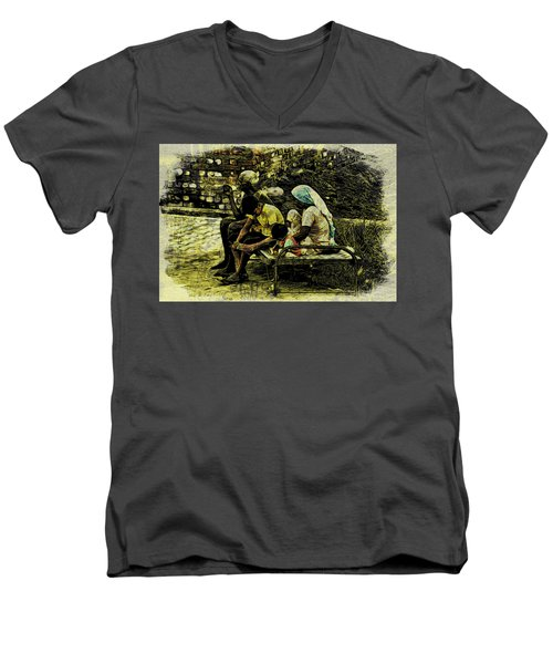 Men's V-Neck T-Shirt featuring the digital art Family Cot by Bliss Of Art