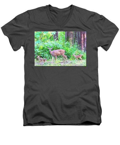 Family In The Wild Men's V-Neck T-Shirt by Ansel Price