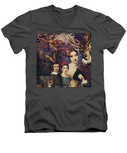 Men's V-Neck T-Shirt featuring the digital art Family Portrait by Alexis Rotella