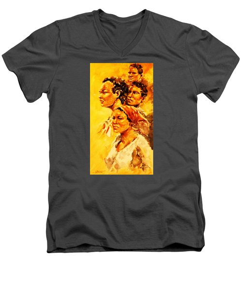 Men's V-Neck T-Shirt featuring the painting Family Ties by Al Brown