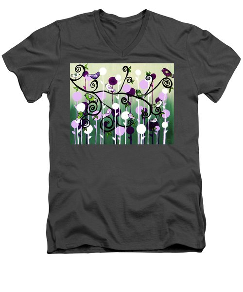 Men's V-Neck T-Shirt featuring the painting Family Tree by Teresa Wing