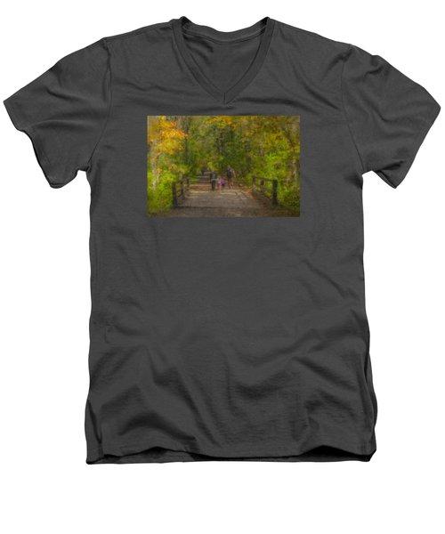 Family Walk At Borderland Men's V-Neck T-Shirt