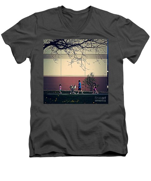 Family Walk To The Park Men's V-Neck T-Shirt