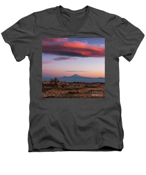 Famous Ararat Mountain During Beautiful Sunset As Seen From Armenia Men's V-Neck T-Shirt by Gurgen Bakhshetsyan