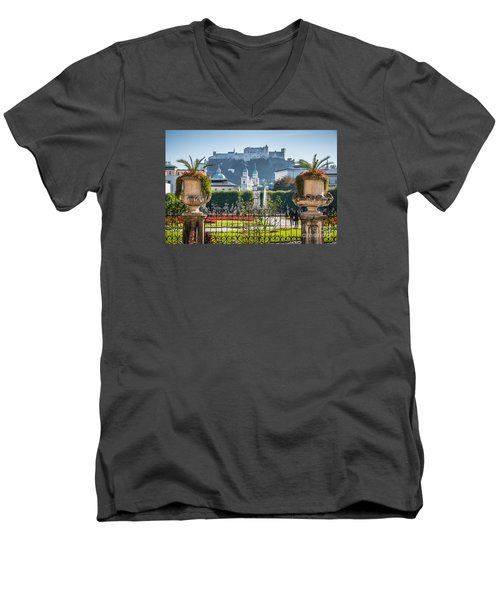 Famous Mirabell Gardens In Salzburg Men's V-Neck T-Shirt by JR Photography