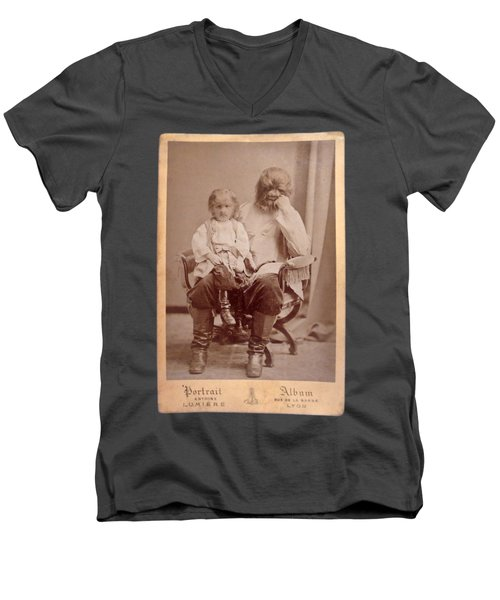 Famous Russian Sideshow Performer Jo-jo The Dog-faced Boy Men's V-Neck T-Shirt by Celestial Images