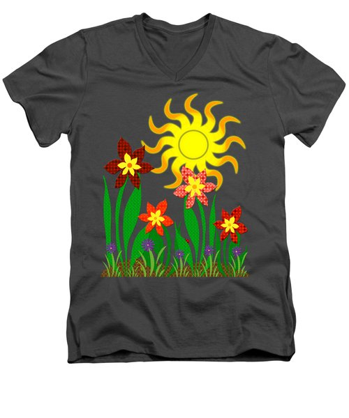 Fanciful Flowers Men's V-Neck T-Shirt by Shawna Rowe