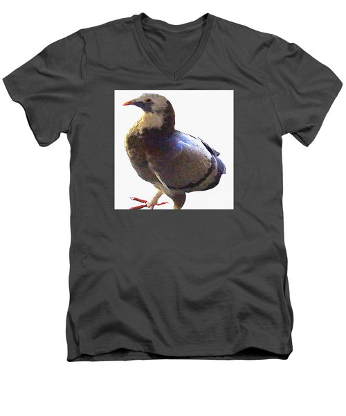 Men's V-Neck T-Shirt featuring the photograph Fancy Pigeon Macro-portrait by Merton Allen