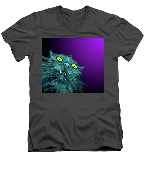 Men's V-Neck T-Shirt featuring the painting Fang Dizzycat by DC Langer