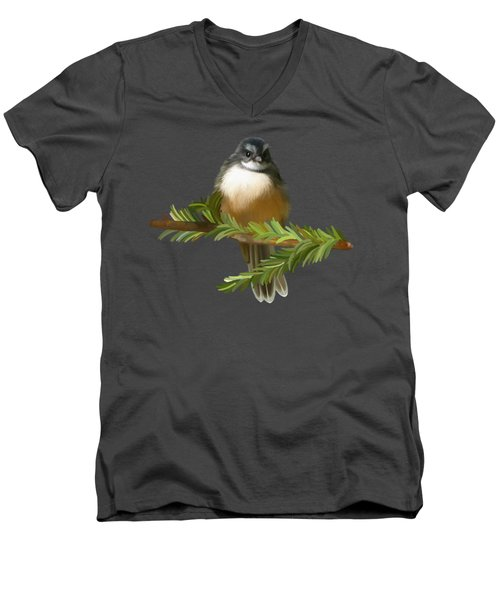 Men's V-Neck T-Shirt featuring the painting Fantail  by Ivana Westin