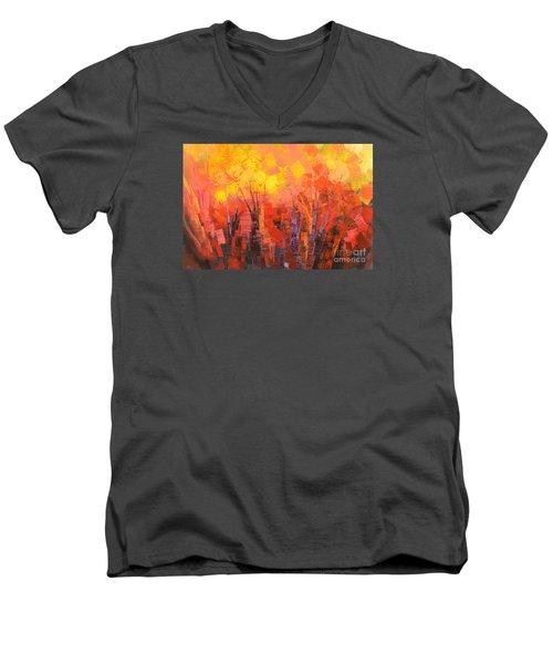 Men's V-Neck T-Shirt featuring the painting Fantastic Fire by Tatiana Iliina