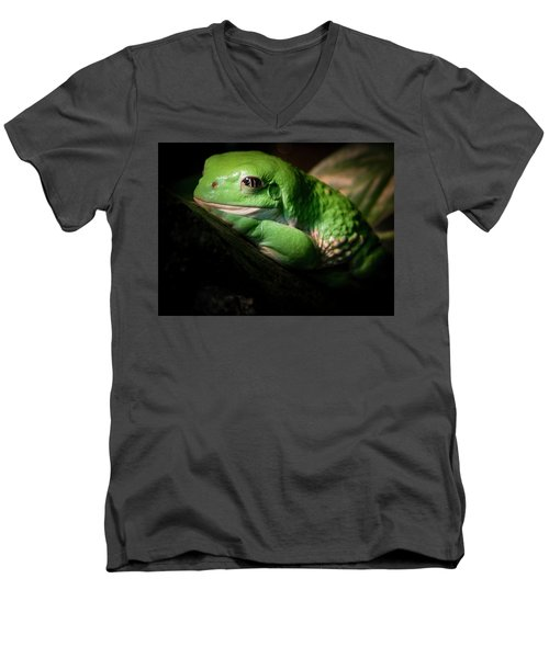 Men's V-Neck T-Shirt featuring the photograph Fantastic Green Frog by Jean Noren