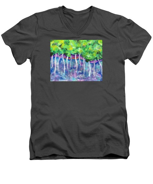 Fantasy Forest Men's V-Neck T-Shirt by Elizabeth Fontaine-Barr