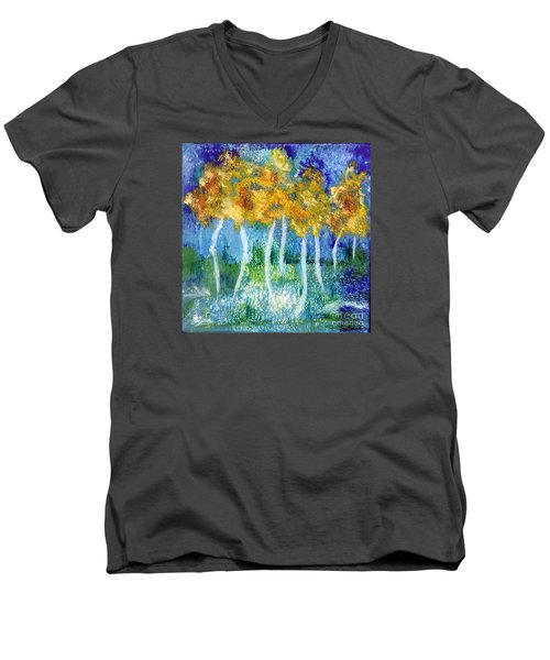Fantasy Glade Men's V-Neck T-Shirt by Elizabeth Fontaine-Barr