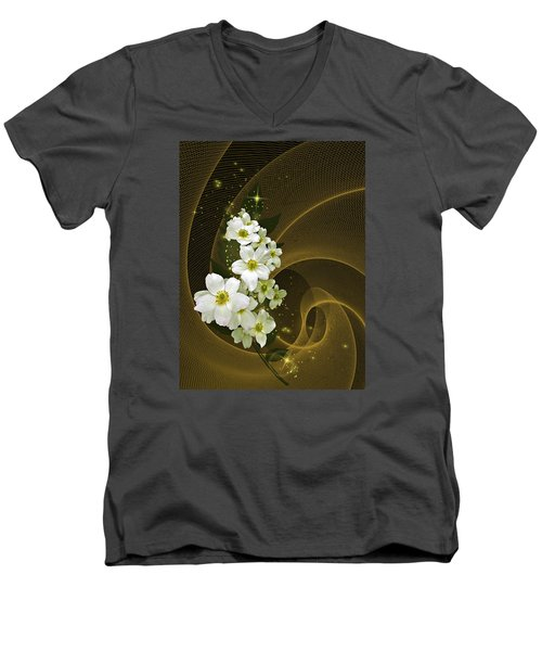 Fantasy In Gold And White Men's V-Neck T-Shirt by Judy  Johnson