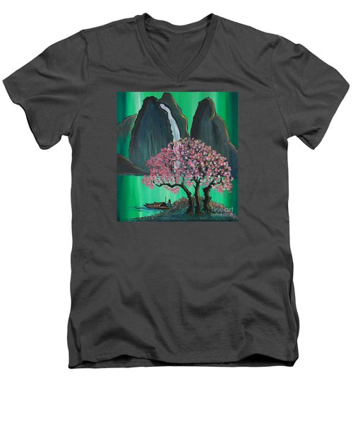 Men's V-Neck T-Shirt featuring the painting Fantasy Japan by Jacqueline Athmann