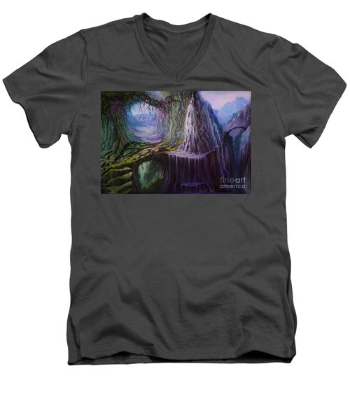 Men's V-Neck T-Shirt featuring the painting Fantasy Land by Rosario Piazza