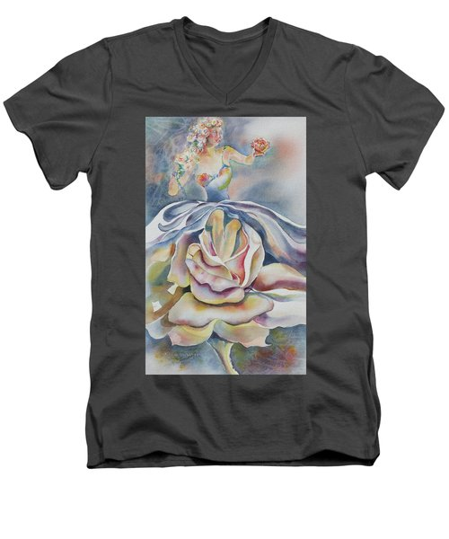 Men's V-Neck T-Shirt featuring the painting Fantasy Rose by Mary Haley-Rocks