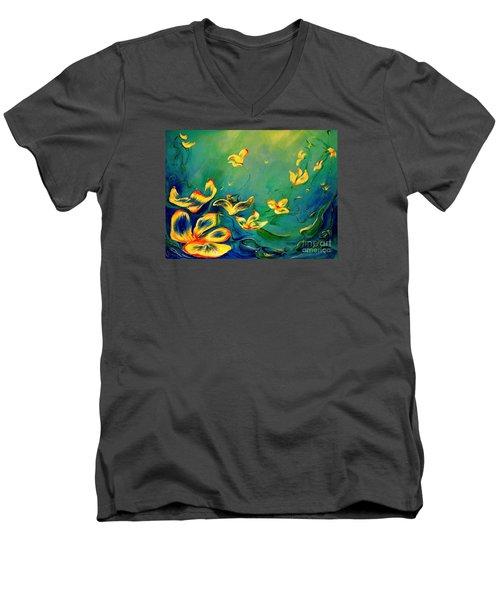 Fantasy World Men's V-Neck T-Shirt by Teresa Wegrzyn