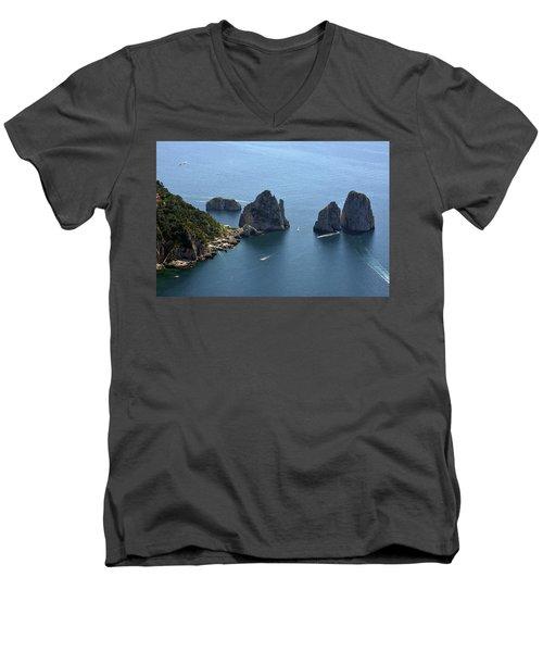 Faraglioni A Capri  Men's V-Neck T-Shirt