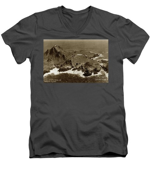 Farallon Island Lighthouse Pacific Ocean April 4, 1924 Men's V-Neck T-Shirt