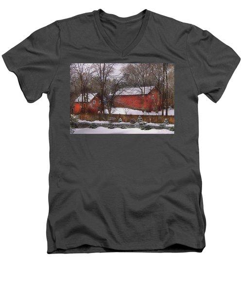 Farm - Barn - Winter In The Country  Men's V-Neck T-Shirt
